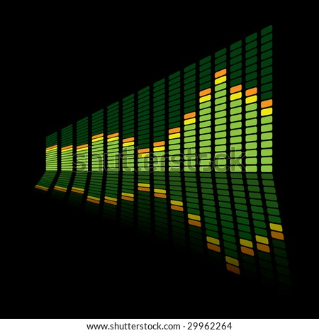 Green music inspired graphic equalizer with reflection and black background