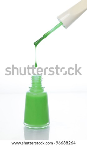 green nail polish bottle with cap and brush