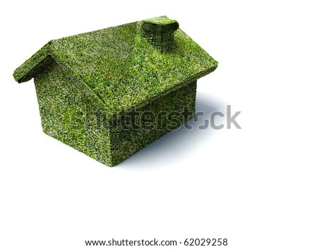 green natural house ecology architecture on white background
