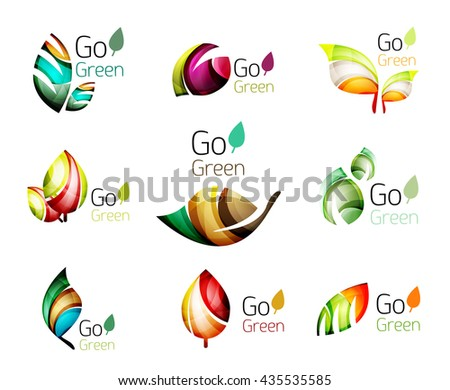 Green nature leaf concept icon set. illustration