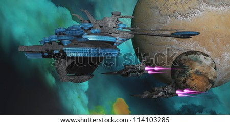 Green Nebular Expanse - Two spacecraft return from a mission to a spaceport in orbit around an alien planet and its moon.. - stock photo
