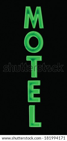 Green Neon Motel sign, lit up at night, large detailed vertical isolated closeup  - stock photo