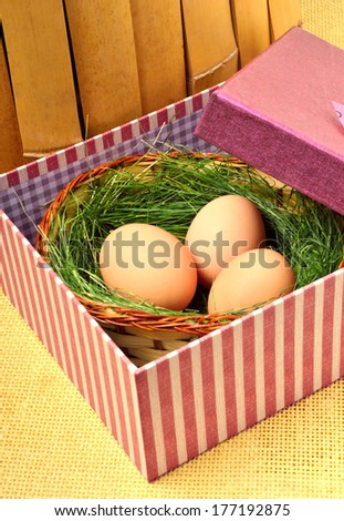 Green nest with eggs in the gift box against the fence - stock photo