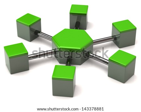 Green network icon on white background