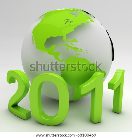 Green New Year concept isolated on white - stock photo