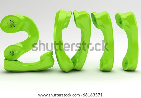 Green New Year for the Telecommunication business - stock photo