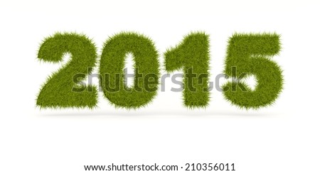 Green 2015 New Year sign isolated on white - stock photo