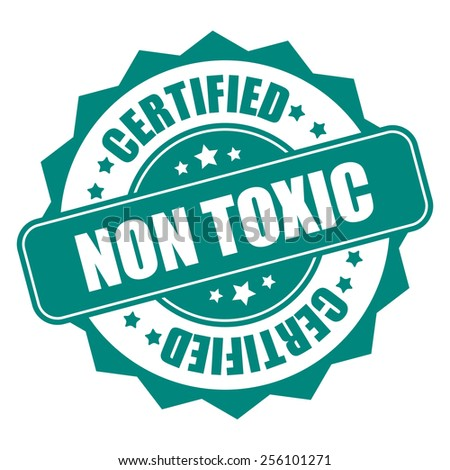 green non toxic certified icon, tag, label, badge, sign, sticker isolated on white - stock photo
