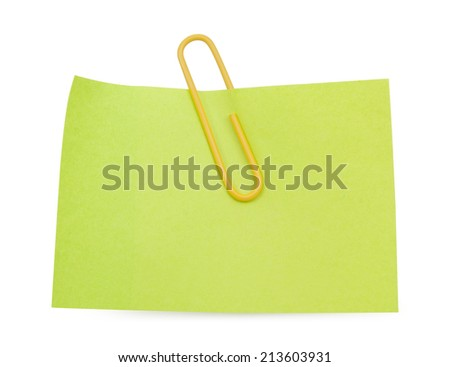 Green Note with yellow paper clip isolated clipping path - stock photo