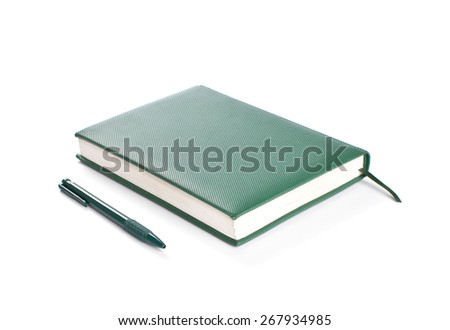 Green  Notebook and green pen isolated on white backgroun - stock photo