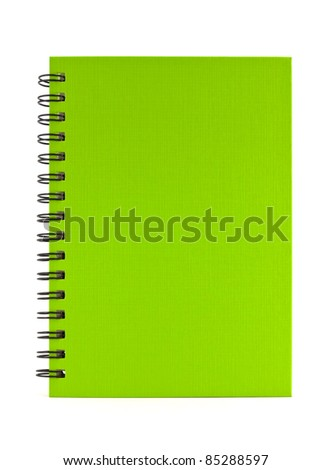 green notebook isolated on white background, office equipment
