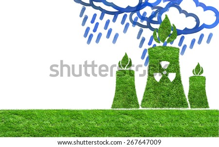 Green nuclear power plant icon on meadow isolated on white. The concept of ecology - stock photo