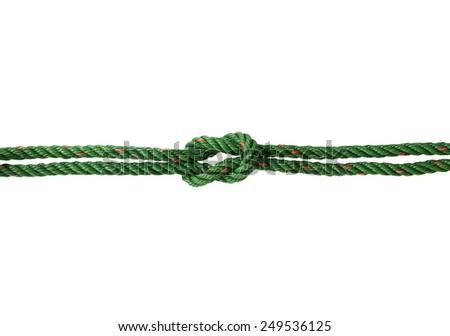 Green nylon rope tied the knot stock photo