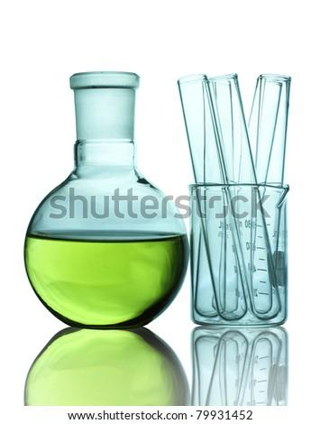 Green of Laboratory glassware. - stock photo