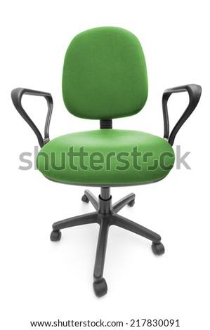 Green office chair closeup - stock photo