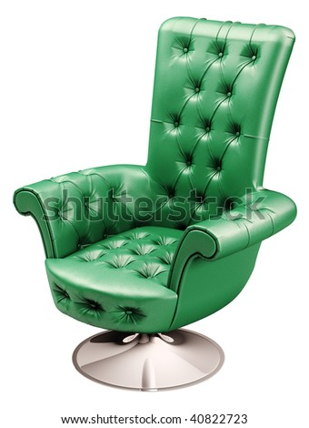Green office chair with clipping path 3d render - stock photo