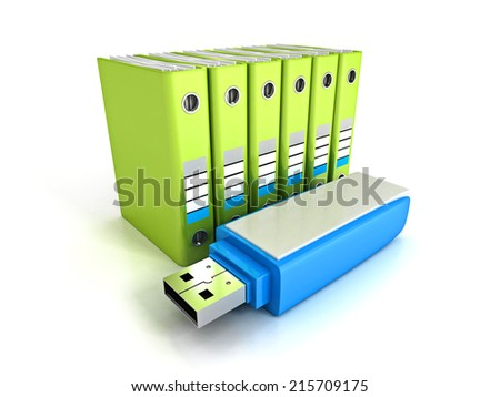 green office ring binders with blue usb flash drive. saving data concept 3d render illustration
