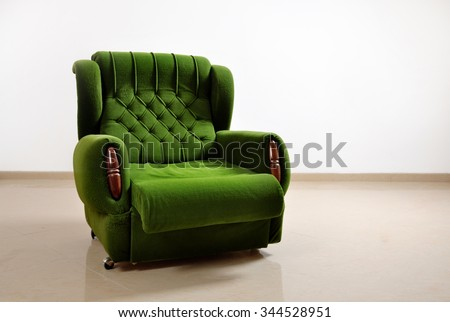 Green Office Sofa isolated on white background - stock photo