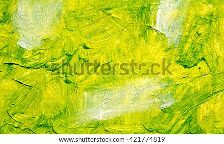 Green oil abstract background painting, green acrulic paint on a palette. Close up. Acrylic painting on canvas. Modern art, contemporary art. - stock photo