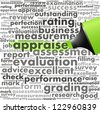 Green oil based marker with appraise info-text graphics and arrangement concept (word cloud) - stock photo