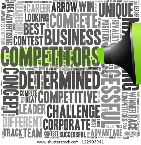 Green oil based marker with competitors info-text graphics and arrangement concept (word cloud) - stock photo