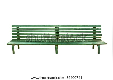 Green old park bench isolated on white - stock photo