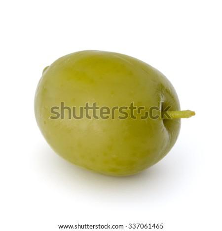 Green olive fruit isolated on white background cutout - stock photo