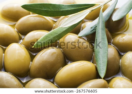 Green Olive fruits overhead close up shoot - stock photo