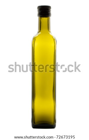 Green olive oil bottle over white background
