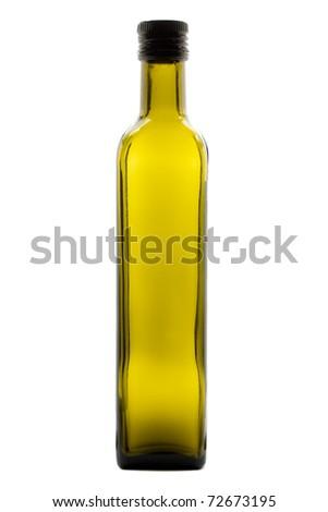 Green olive oil bottle over white background - stock photo