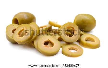 green olive slices on white background - stock photo