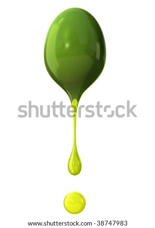 Green olive with drops of oil isolated on white background