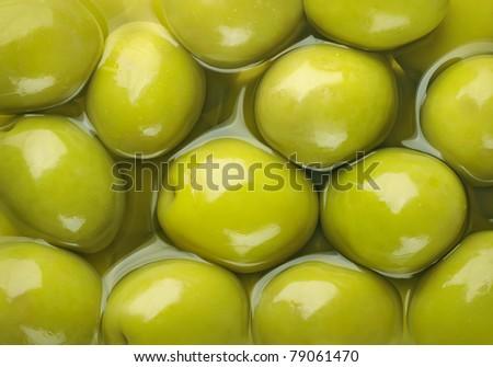 Green olives horizontal background - stock photo