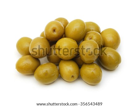 green olives isolated on white - stock photo