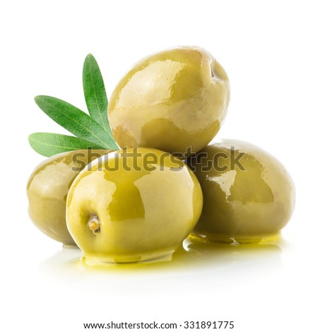 Green olives & oil isolated on a white - stock photo