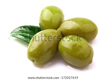 Green olives on a white background. - stock photo