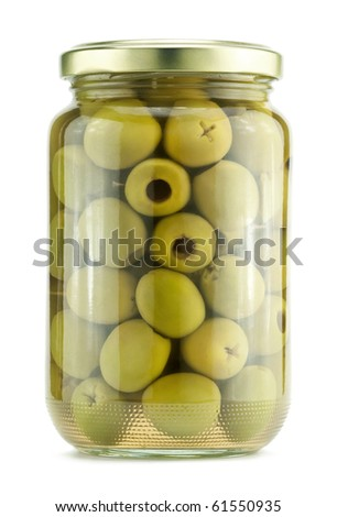 Green olives on a white background - stock photo