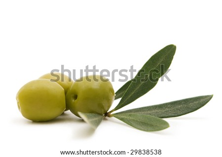 green olives on white background - stock photo