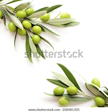 green olives on white background. copy space - stock photo