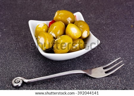 Green Olives Stuffed with Cheese Studio Photo