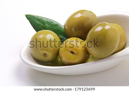 green olives tapas - stock photo