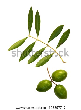 Green  olives with olive leaves isolated on white