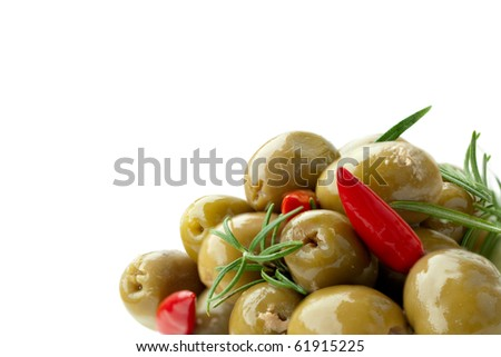 green Olives with red Pepper and Rosemary on white Background - stock photo