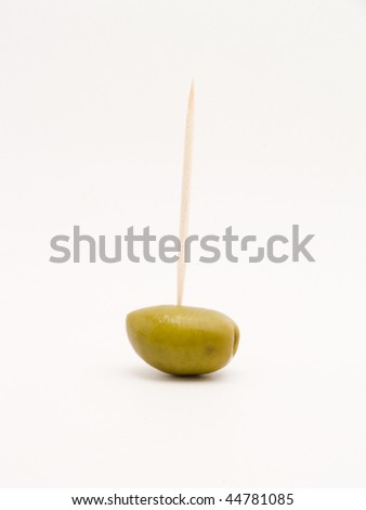 green olives with toothpicks