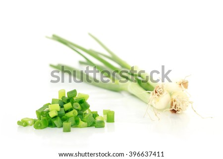 green onion cut chives nature food on white background - stock photo