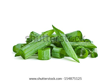 Green onion herb chopped isolated on white - stock photo