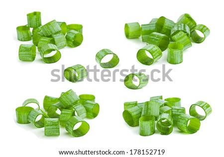 Green onion herb chopped set on white - stock photo