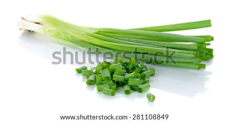 Green onion isolated on the white background. - stock photo
