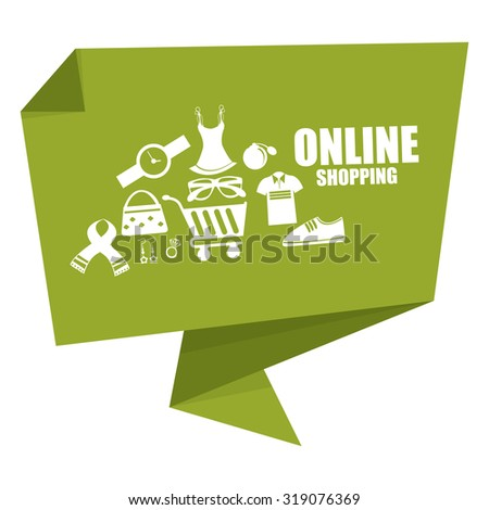 Green Online Shopping Origami Speech Bubble or Speech Balloon Infographics Sticker, Label, Sign or Icon Isolated on White Background - stock photo