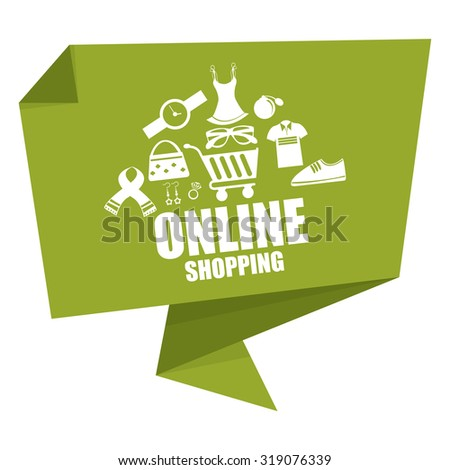 Green Online Shopping Paper Origami Speech Bubble or Speech Balloon Infographics Sticker, Label, Sign or Icon Isolated on White Background - stock photo